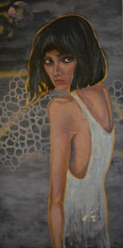 Mia (Acrylic and encaustic on canvas, 48 x 24 inches)