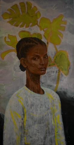 Nadege (Acrylic and encaustic on canvas, 48 x 24 inches)